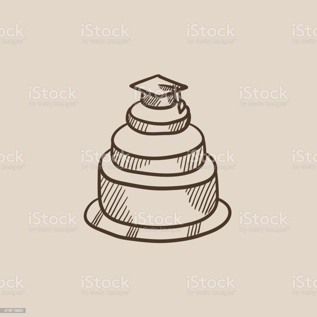 Ilustracion De Tapa De Graduacion En La Parte Superior De Torta