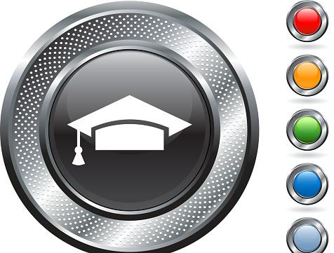 graduation cap royalty free vector art on metallic button