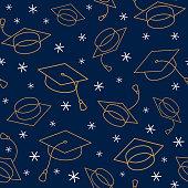 istock Graduation Cap Seamless Pattern. For invitation, banner, poster, postcard. Vector illustration. 1309772758