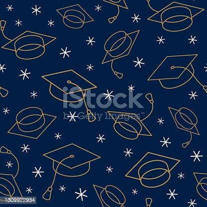istock Graduation cap seamless pattern. 1309922934