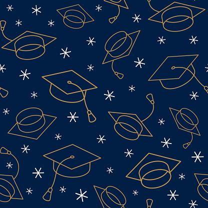Graduation cap seamless pattern.