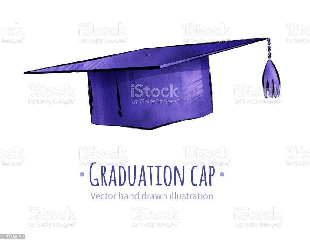 Graduation cap. vector art illustration