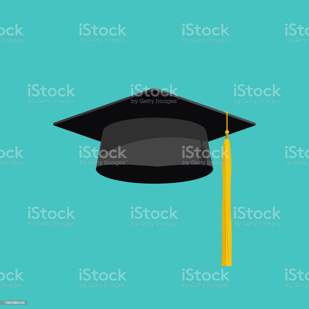 Afstuderen GLB vector geïsoleerd op blauwe achtergrond, Afstudeer hoed met kwast plat pictogram, academische GLB, afstuderen GLB beeld, afstuderen GLB - Royalty-free Ceremonie vectorkunst