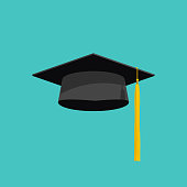 Graduation cap vector isolated on blue background, graduation hat with tassel flat icon, academic cap, graduation cap image, graduation cap