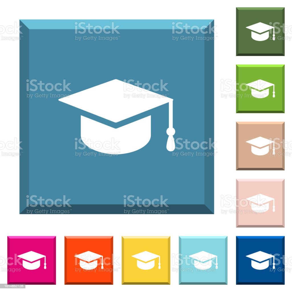 Graduation cap white icons on edged square buttons vector art illustration