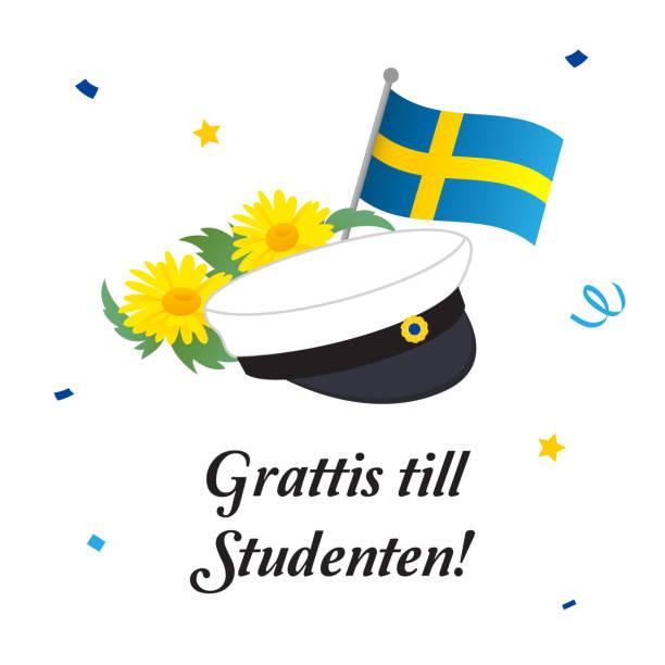 illustrations, cliparts, dessins animés et icônes de chapeau de graduation avec drapeau et fleurs, illustration vectorielle de carte de voeux. traduction en suédois: «félicitations sur la graduation!» - suede