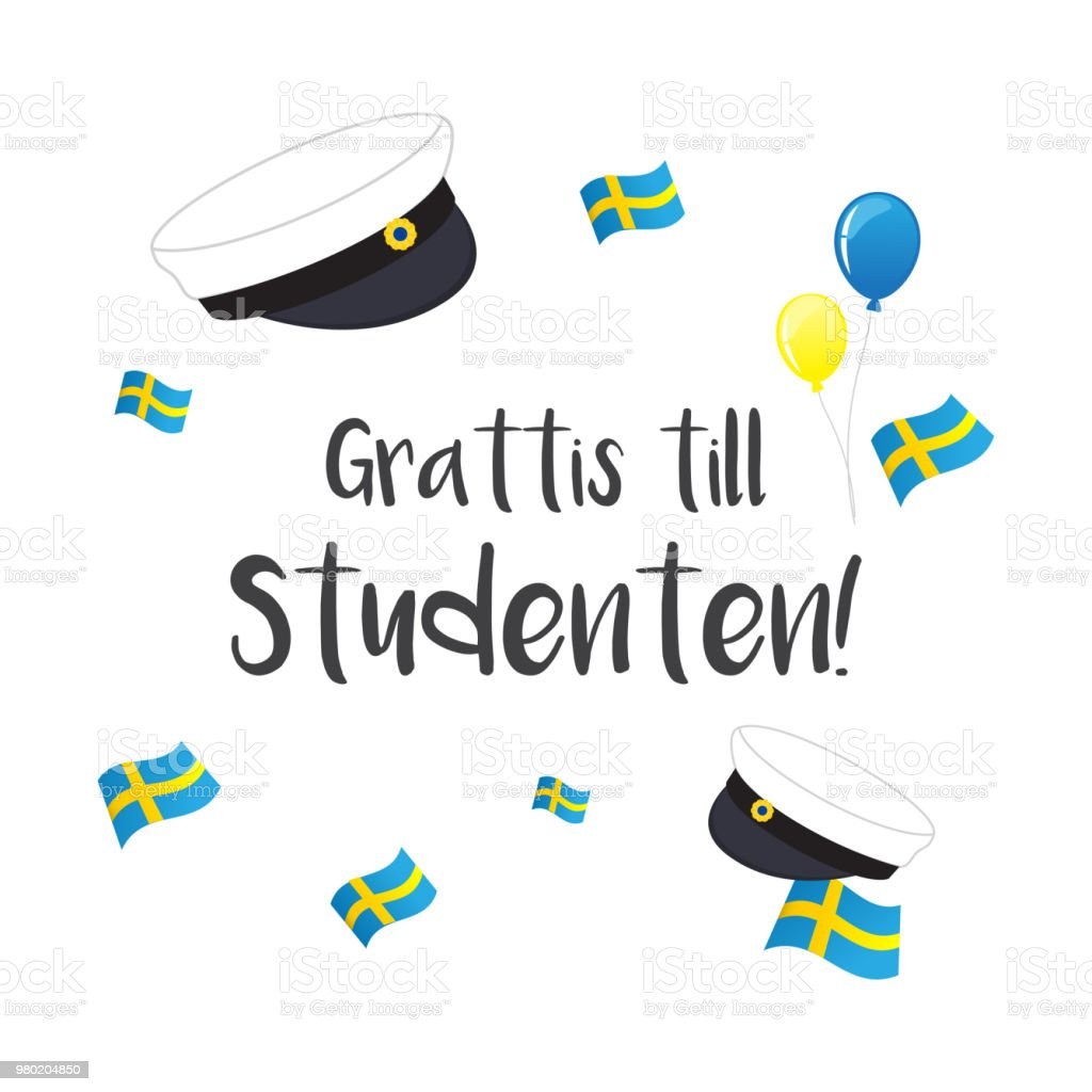 Graduation Cap With Flag Of Sweden Greeting Card Vector Illustration