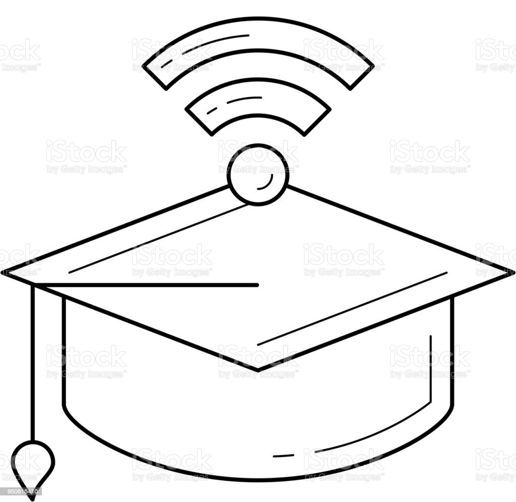 graduation cap with network wifi sign line icon royalty-free graduation cap  with network wifi