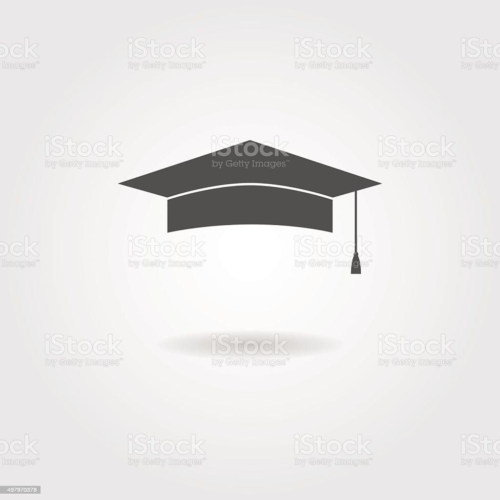 graduation cap with shadow vector art illustration