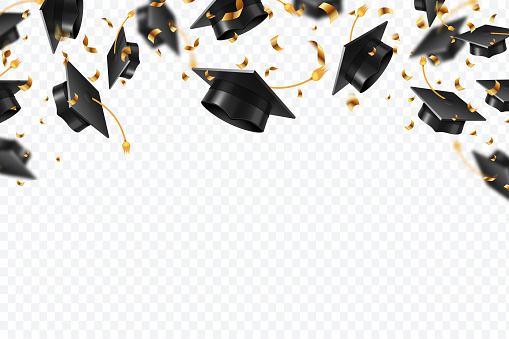 Graduation caps confetti. Flying students hats with golden ribbons isolated. University, college school education vector background. University caps student, ceremony award illustration