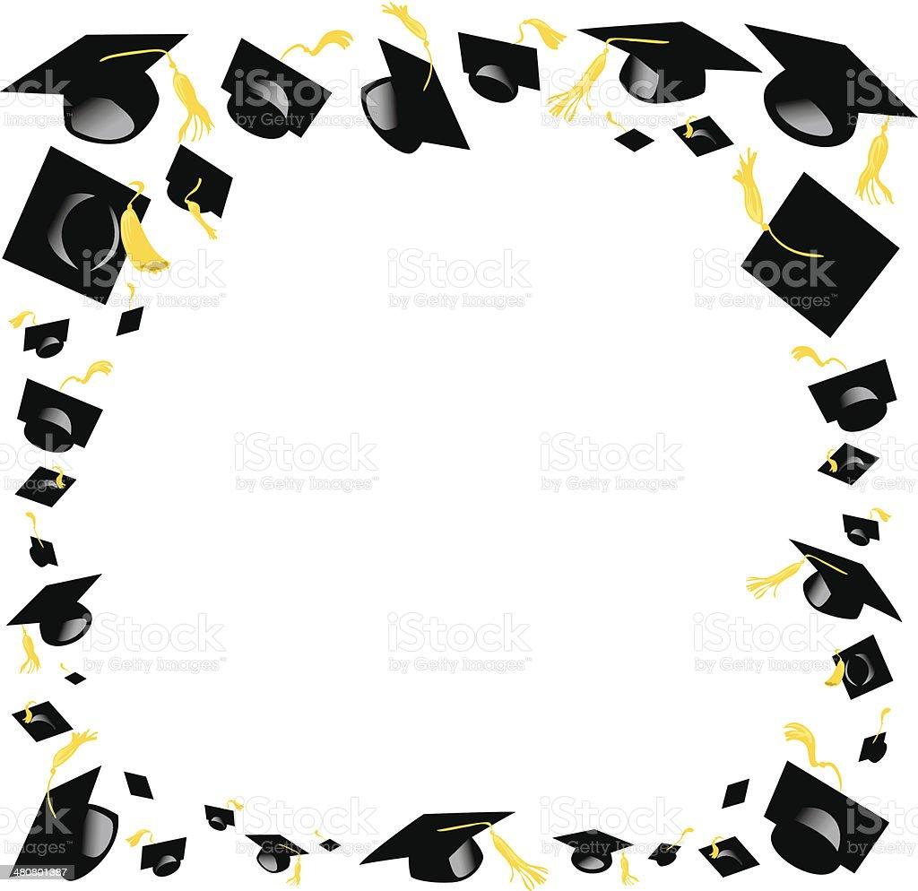 Graduation Caps Frame C Stock Vector Art & More Images of Abundance ...