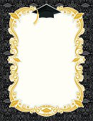 """Gold Frame with Graduation Cap and Damask Background. Room for your text.Please note: It is prohibited to use this on: Online """"print-on-demand"""" products."""