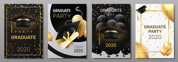 Graduation cards. Invitation and congratulation banners. Greeting postcards with black caps and degree diplomas, realistic balloons or golden confetti. Vector square flyers set for graduate ceremony