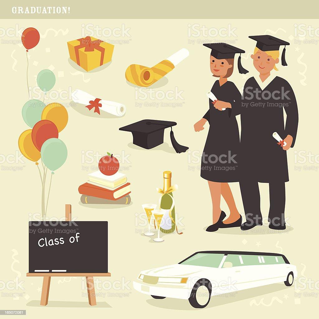 graduation celebration icons royalty-free stock vector art