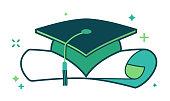 Graduation mortarboard and diploma.