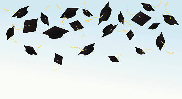 Royalty Free Graduation Caps In Air Clip Art, Vector ...