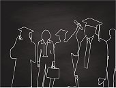 Chalkboard silhouette illustration of a group of proud graduates and a business woman in the background