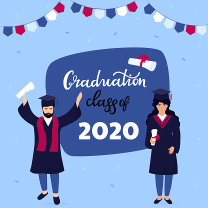 Graduation ceremony. Class of 2020. Greeting banner. Graduates celebrate completion of studies.