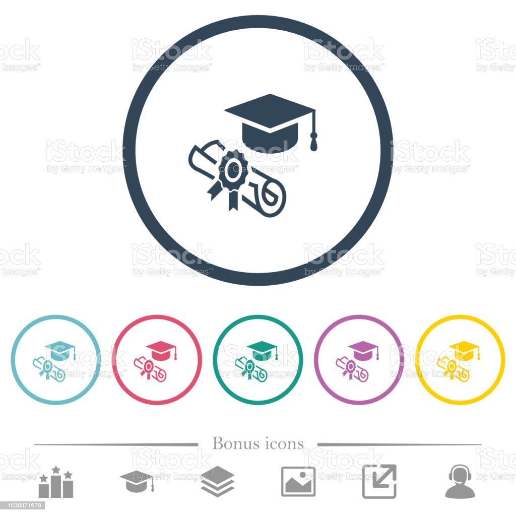 Graduation ceremony flat color icons in round outlines vector art illustration