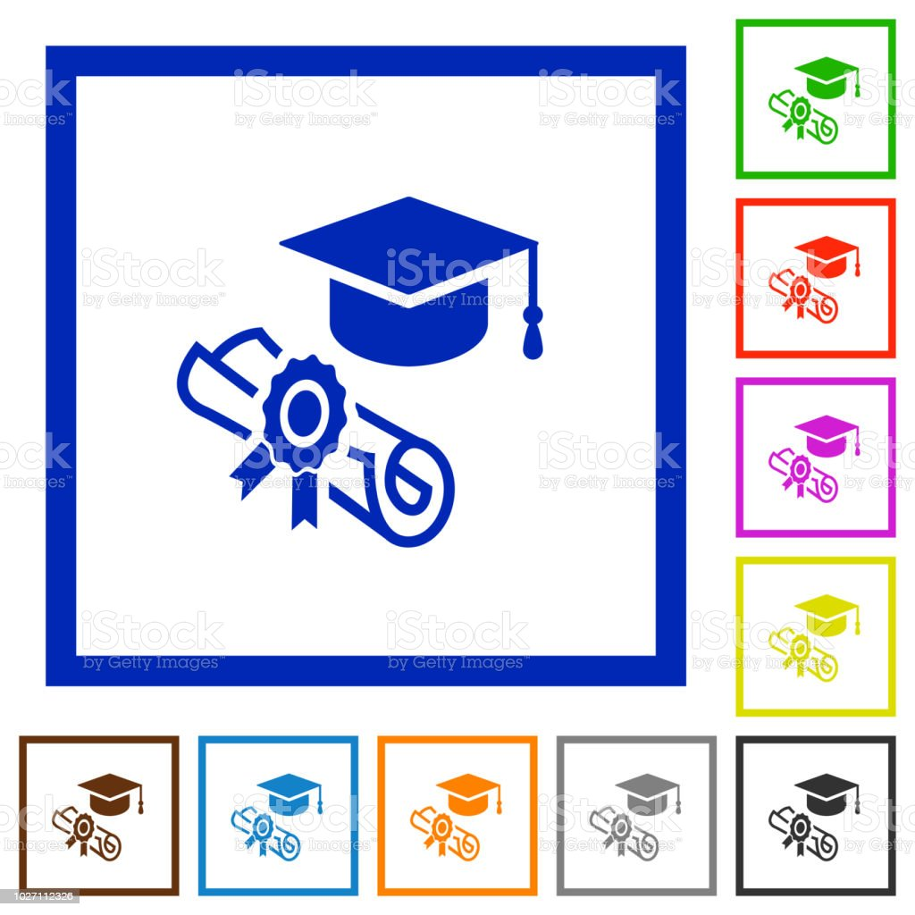 Graduation ceremony flat framed icons vector art illustration