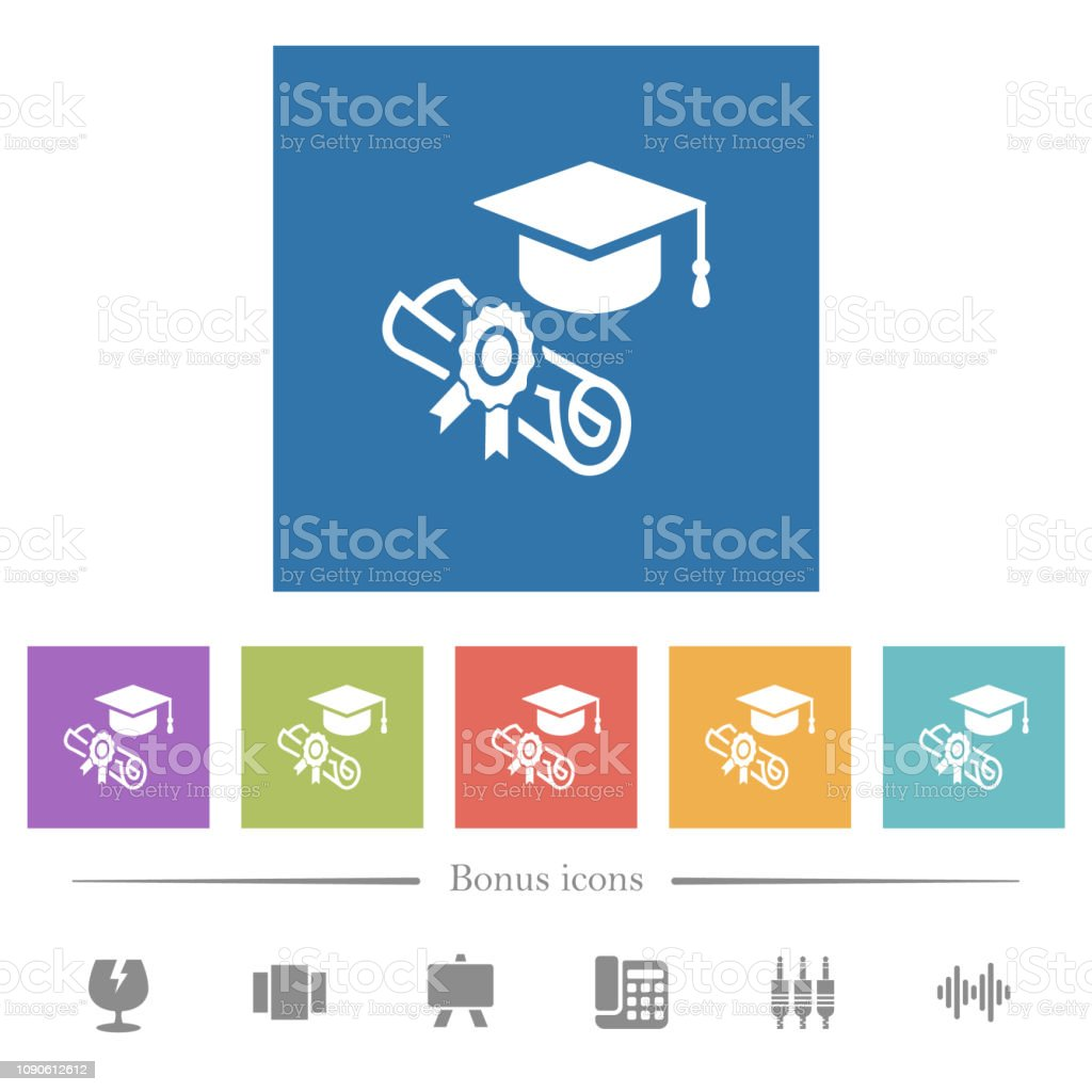 Graduation ceremony flat white icons in square backgrounds vector art illustration