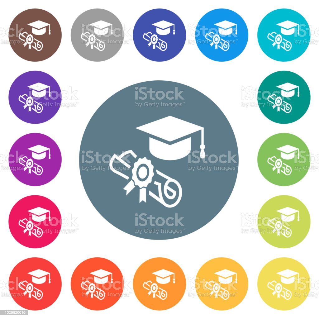 Graduation ceremony flat white icons on round color backgrounds vector art illustration