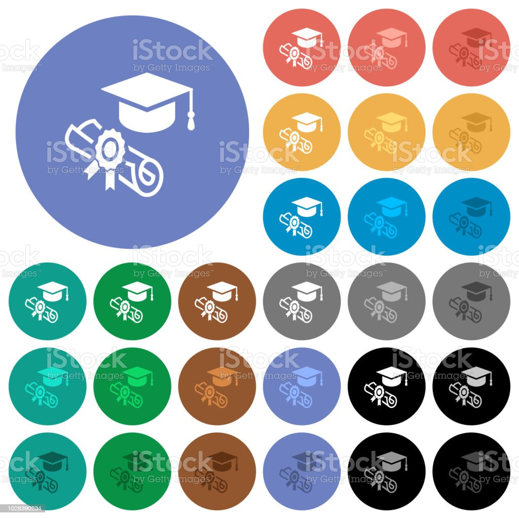 Graduation ceremony round flat multi colored icons vector art illustration