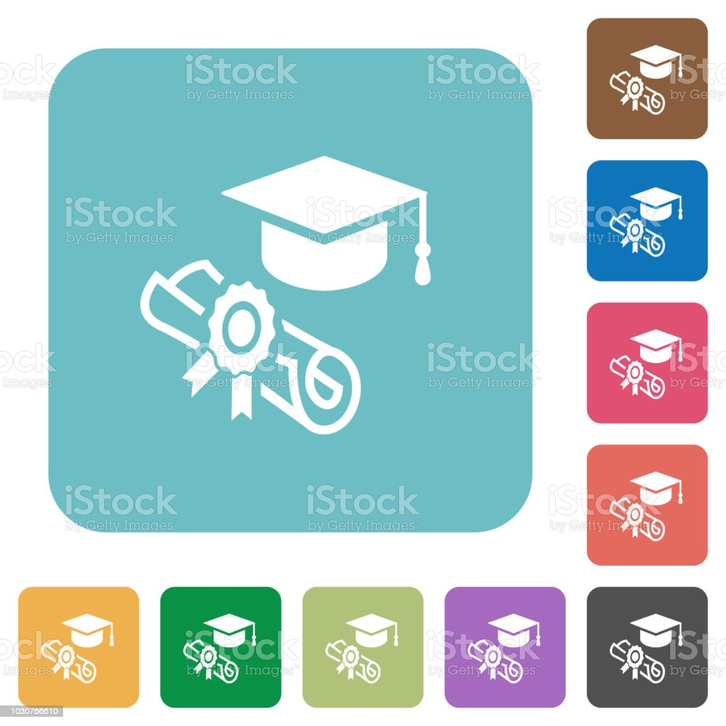 Graduation ceremony rounded square flat icons vector art illustration
