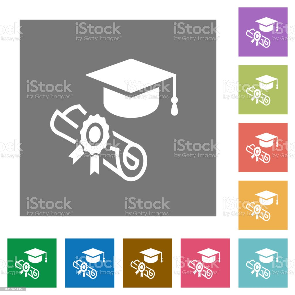 Graduation ceremony square flat icons vector art illustration