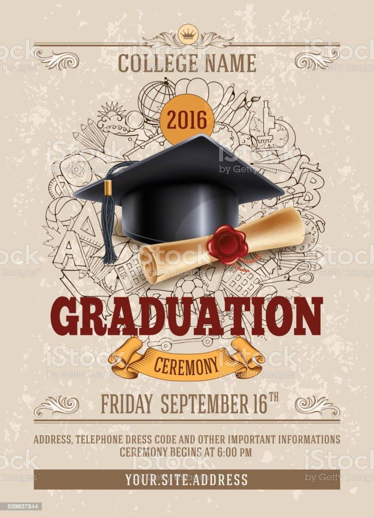 Graduation ceremony vector art illustration