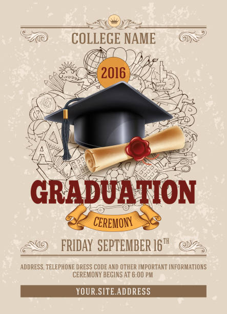 Graduation ceremony vector art illustration