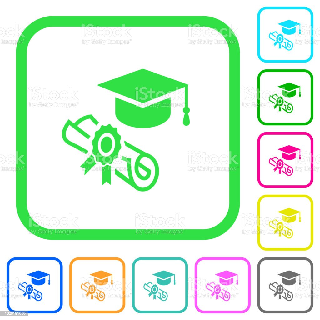 Graduation ceremony vivid colored flat icons vector art illustration