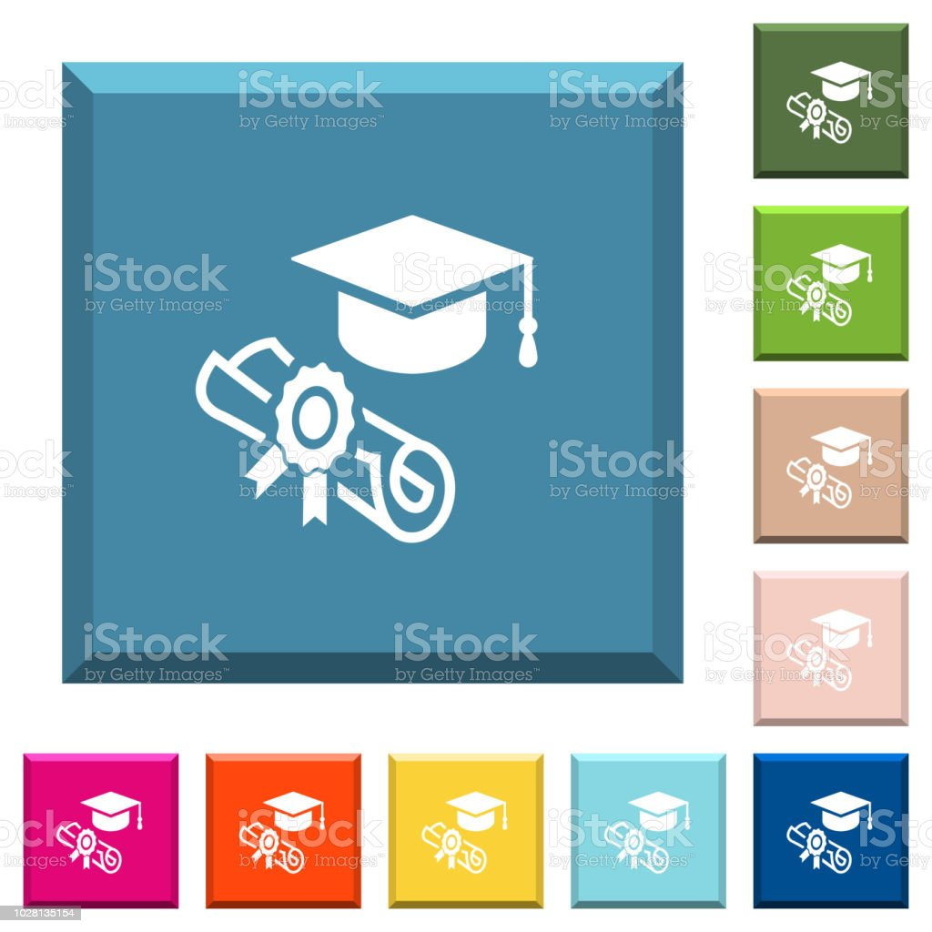 Graduation ceremony white icons on edged square buttons vector art illustration