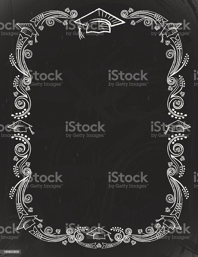 Chalkboard graduación tarjeta - ilustración de arte vectorial