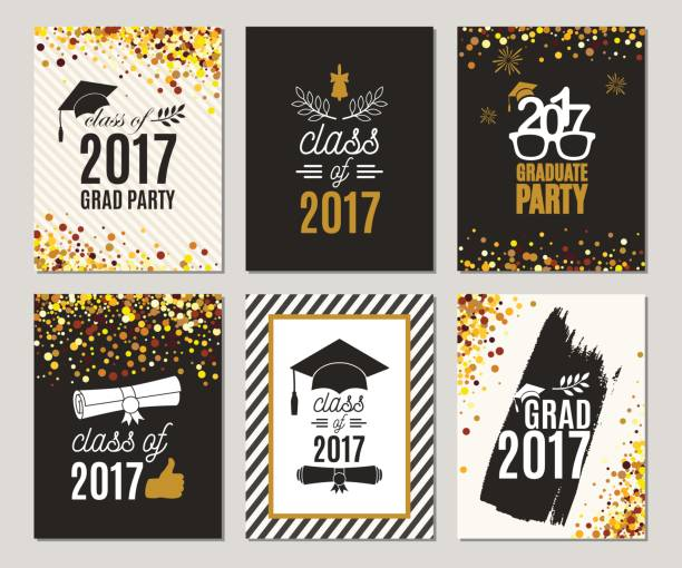 Graduation Class of 2017 greeting cards set. Vector party invitations. Grad posters. Isolated vector art illustration