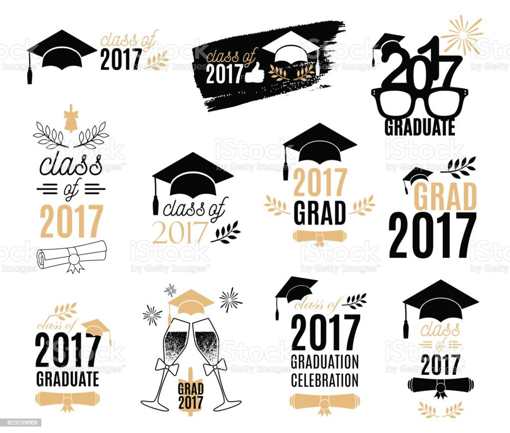 Graduation class of 2017 labels design set. Badges kit for shirt, print, seal, overlay, stamp, greeting card, invitation. Vector sign or logo. Isolated vector art illustration