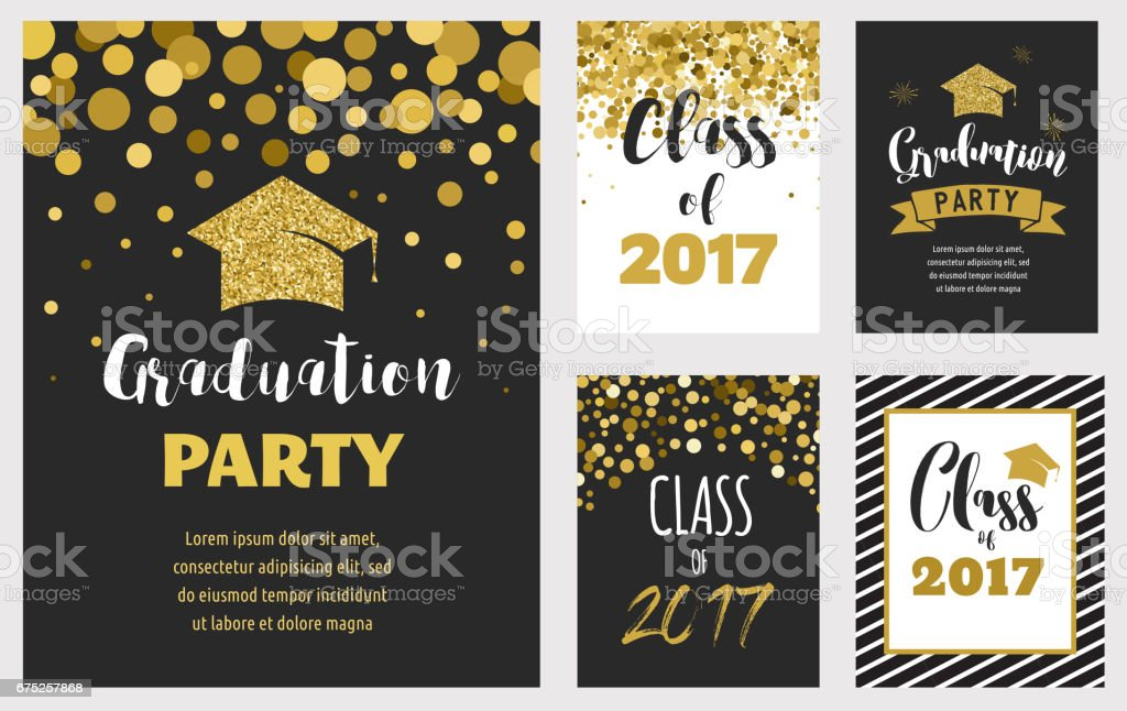 Invitaciones de la fiesta de graduación de 2017, - ilustración de arte vectorial