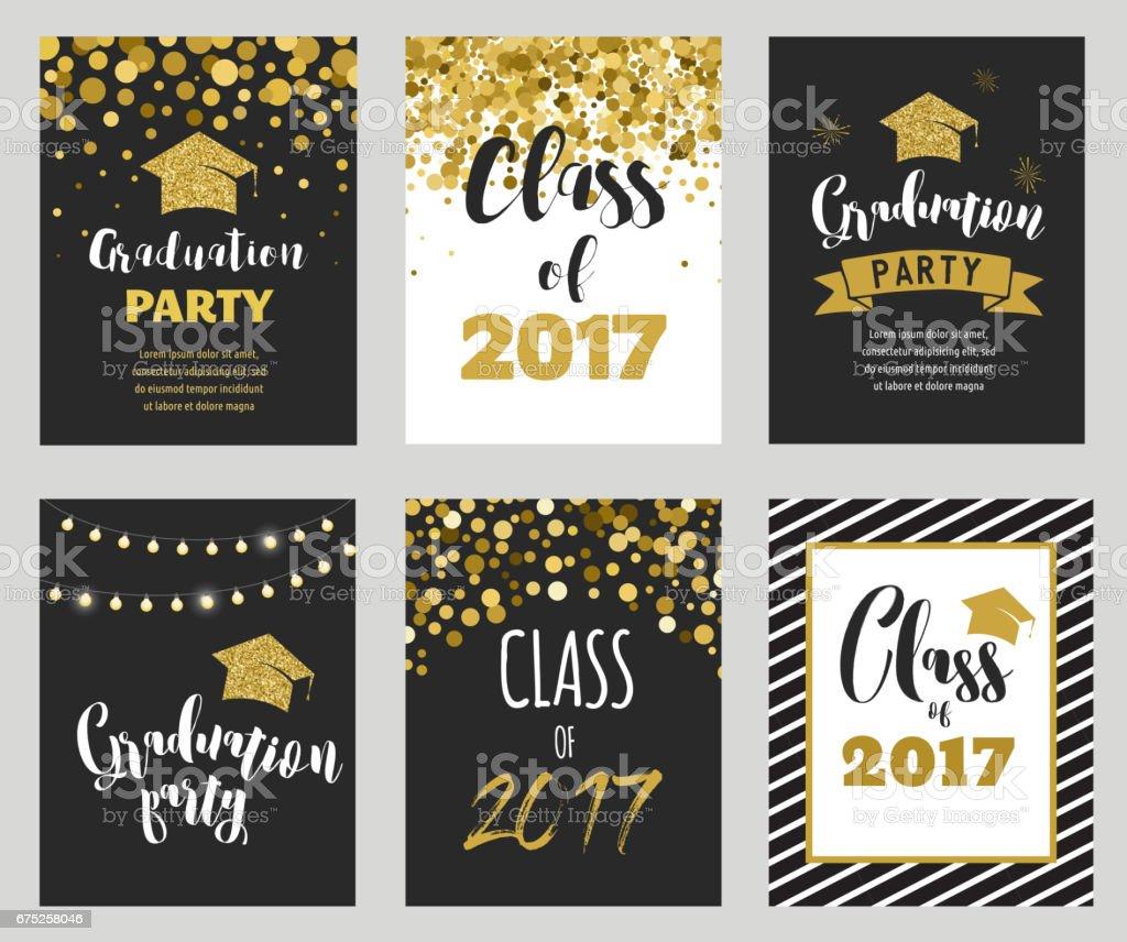 Graduation Class of 2017, party invitations vector art illustration
