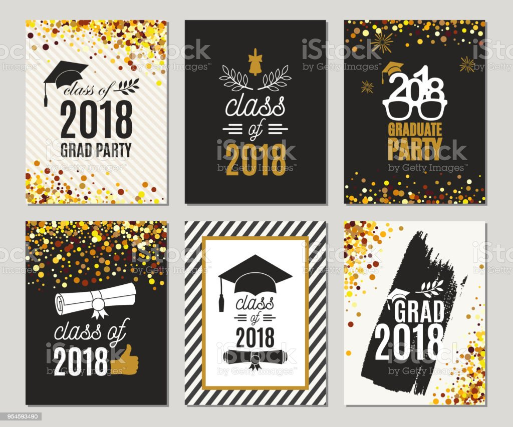 graduation class of 2018 greeting cards set vector party invitations
