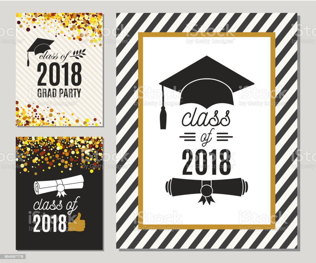 Graduation Class Of 2018 Greeting Cards Set With Gold Confetti