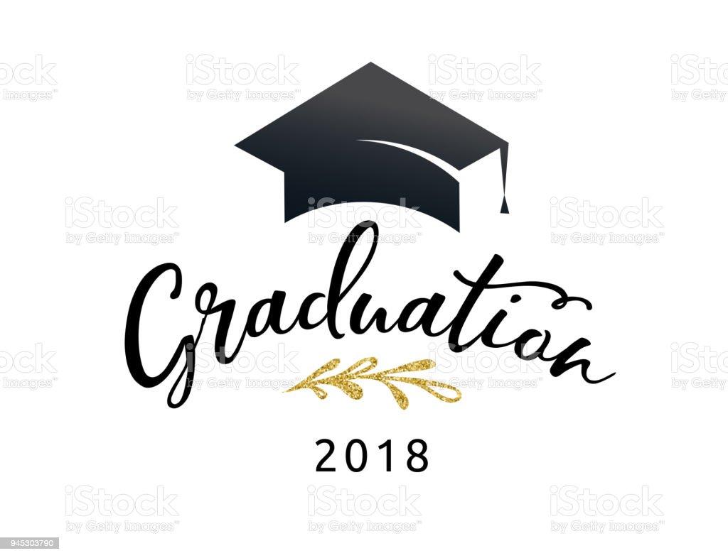 Fiesta de graduación del 2018, invitaciones, afiches, banner - ilustración de arte vectorial