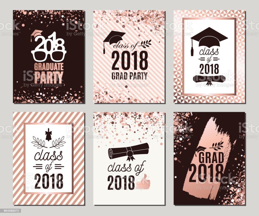 Graduation Class Of 2018 Rose Gold Greeting Cards Set Six Vector