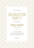Graduation Class of 2020. Party invitation. Design template with icon elements. stock illustration