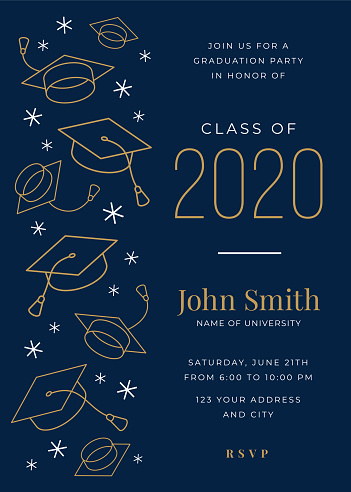 Graduation Class of 2020. Party invitation. Design template with icon elements.