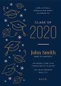Graduation Class of 2020. Party invitation. Design template with icon elements. Stock images