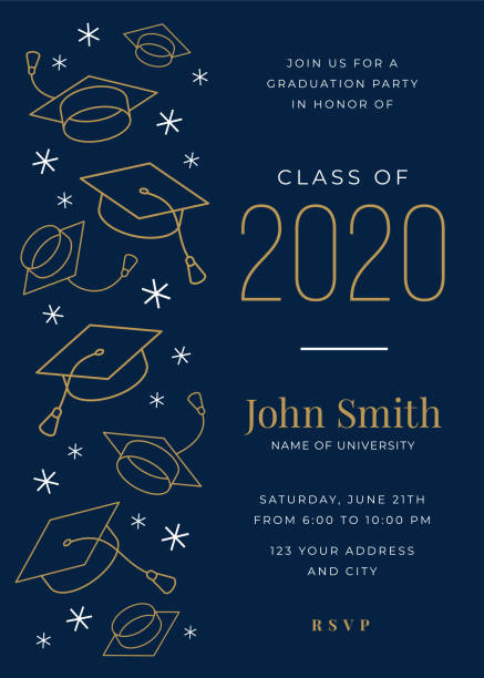 Graduation Class of 2020. Party invitation. Design template with icon elements. Graduation Class of 2020. Party invitation. Design template with icon elements. Stock images invitational stock illustrations