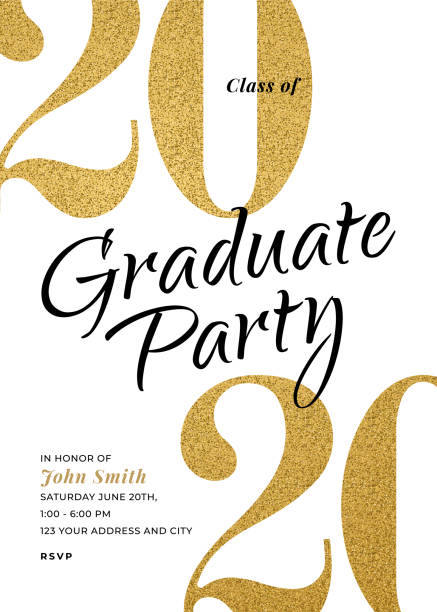 Graduation Class of 2020. Party invitation. Greeting cards with golden glitter. vector art illustration