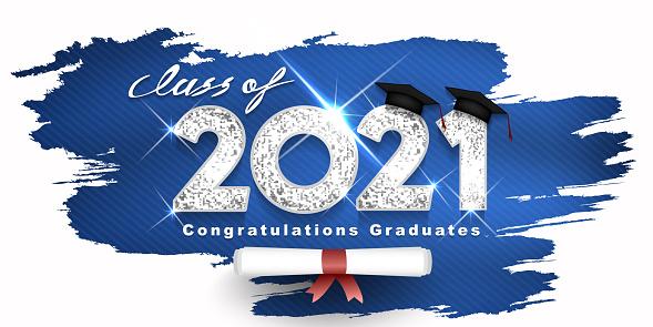 Graduation. Class of 2021. Congratulation event, T-shirt, logo, party, high school or college graduate. Lettering for greeting, invitation card invitation etc. Silver design Vector illustration
