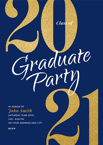 Graduation Class of 2021. Party invitation. Greeting cards with golden glitter.