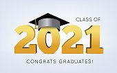 istock Graduation Class of 2021 with cap. Vector illustration 1279346414